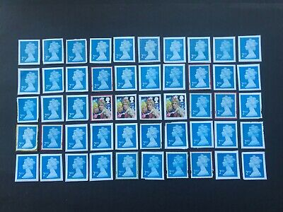 100 x  UNFRANKED   2nd class stamps on paper  -  Face Value £61