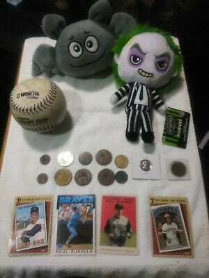 Junk drawer lot vintage coins Roberto Clemente baseball card wheat pennies Misc.