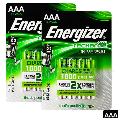 8 X Energizer Piles AAA Rechargeable Universel 500mAh Accu Nimh HR03 4 Paquet