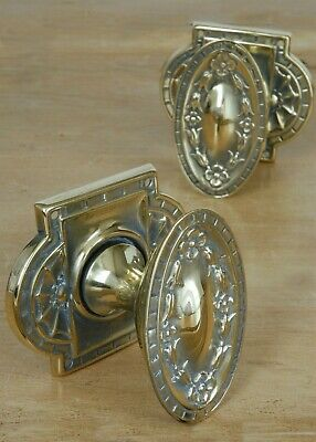 Edwardian Brass Door Knobs Antique Reclaimed & Restored Hardware Vintage Floral