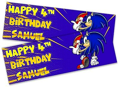 x2 Personalised Birthday Banner Sonic Kid Adult Party Decoration Poster 127