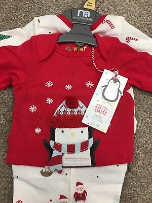 Mothercare Baby Boys Girls Penguin Christmas Pyjamas Santa Xmas PJs Newborn 2pce