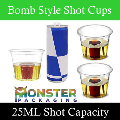 100 x Strong Reusable Jagerbomb Glasses Plastic Bomb Party Shots 25ml CE Marked