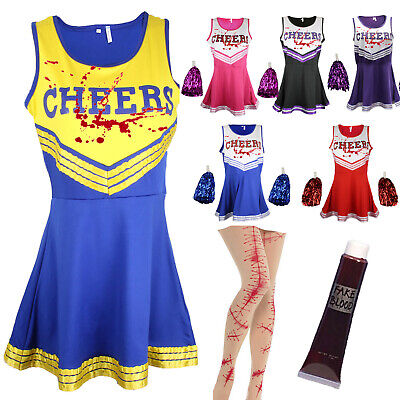 Zombie Cheerleader Halloween Fancy Dress Outfit Costume Bloody Stockings & Blood
