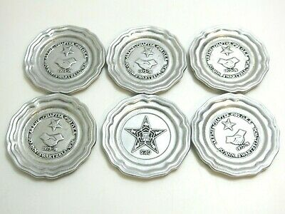 Lot Of 6 Wilton Rwp Armetale Pewter Queen Anne Oes Masonic Advertising Coasters