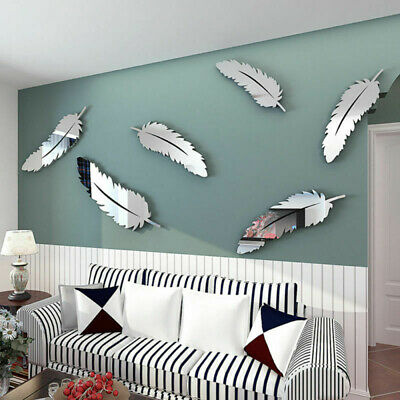 Best Feather Mirror Glass Tile Wall Stickers Decal Mosaic Room Decor Stick On