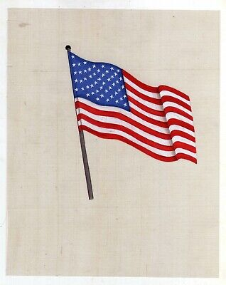 Hand-Painted Miniature Painting Of American Flag On Cloth