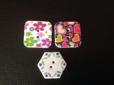 3 pretty buttons, 2 x square, 1 hexagonal