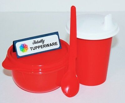 Tupperware Baby Feeding Set 7 oz. Sippy Bell Tumbler Lil' Ideal Bowl & Spoon Red