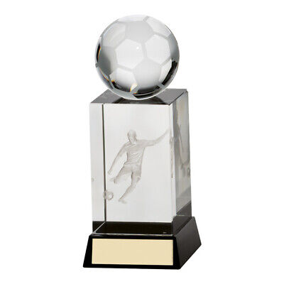 Football Crystal Trophy Award 170mm Sterling FREE Engraving NEW