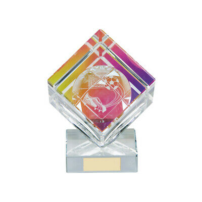 Football Cube Crystal Trophy Award 105mm Victorious FREE Engraving