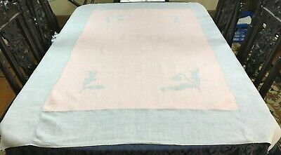 Beautiful Vintage Pink & Blue Linen Tablecloth with Applique Tulips 66 x 48