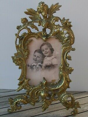 Large Antique French Gilt Brass Bronze Freestanding Photo Picture Frame