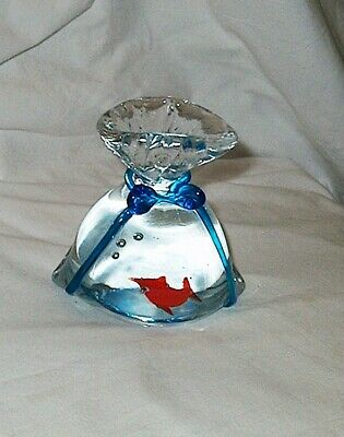 Vintage Murano Glass Fish in a Bag Aquarium Goldfish Blue Ribbon Paperweight