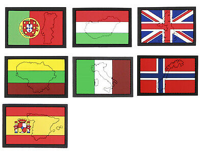 Airsoft morale patch 3D PVC Hook and loop Europeans Flags with contour