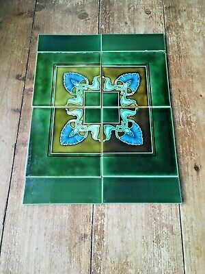 Stunning Green Original Art Nouveau Reclaimed Fireplace Tiles - Minton Interest