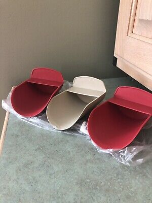 Tupperware Rocker Scoops Gadget Flour Sugar Ice Scoop Red Tan Set Of 3 NEW