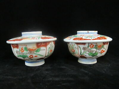 Gorgeous Antique JAPANESE Imari Red & Green FLORAL Design Soup Bowl w/Lids Set