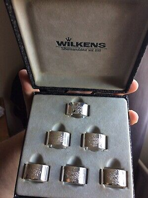 Wilkens Napkin Rings Boxed Silver Napking Rings Set of 6