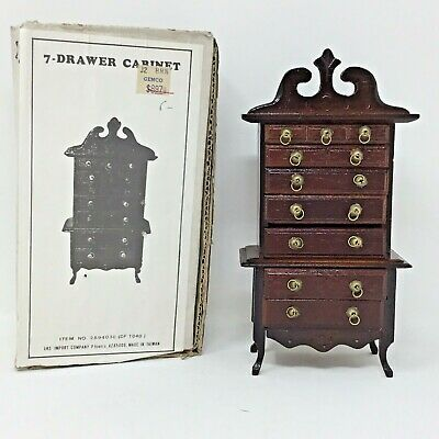 Vtg Wooden Miniature Dollhouse Furniture 7 Drawer Chest Cabinet Drawers Open