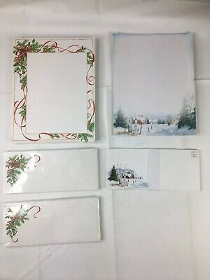 Vintage Christmas Holiday Stationary Writing Paper W/ Envelopes