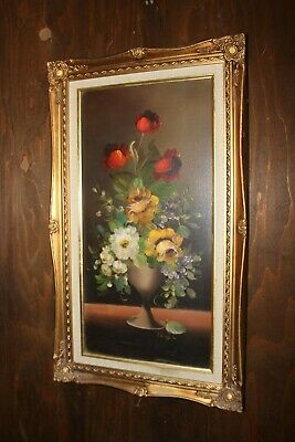 """Vtg Oil Painting on Canvas """"Flowers in a Vase"""" Victorian Style Wood Frame,Signed"""