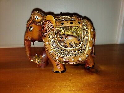 """Handmade 5"""" Solid Wooden Carved Ornate Elephant Statue.Home Decorative Gift"""