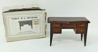 Vintage Wooden Miniature Dollhouse Furniture Desk Table With 5 Drawers Open