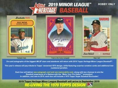 2019 Topps Heritage Minors League  Sealed Hobby Box Presale 9/25