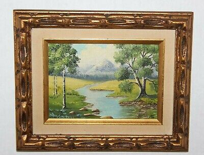 """Vtg Miniature Oil Painting on Canvas Board """" Snow Covered Peak"""" Frame, Signed"""