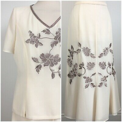 Jacques Vert Cream Floral Embroidered Wedding Event Skirt Top Set Suit Size 14