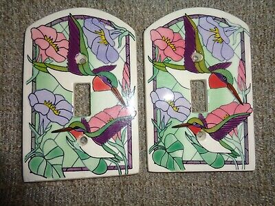 2 Hummingbird Switch Plates Ceramic With Screws