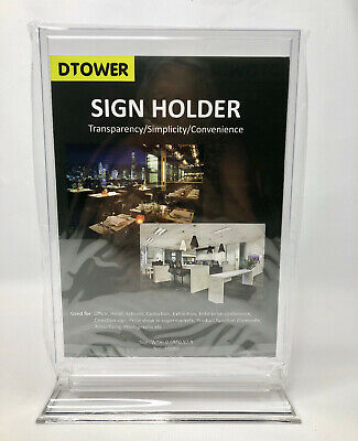 "Polycarbonate Sign Holders 8.26"" x 11.69"" Table Top Free Standing Lot of 5"