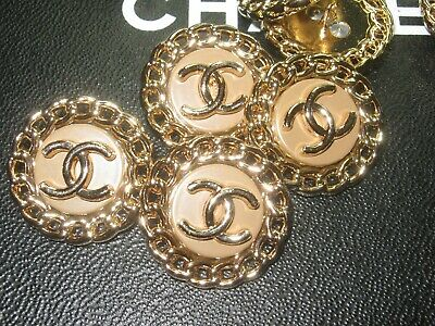 Chanel 5 buttons  23mm lot of 5 khaki GOLD CC