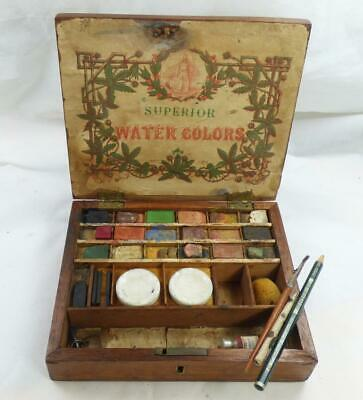 ANTIQUE ARTISTS 'SUPERIOR WATERCOLOUR PAINTBOX  + key very Early example