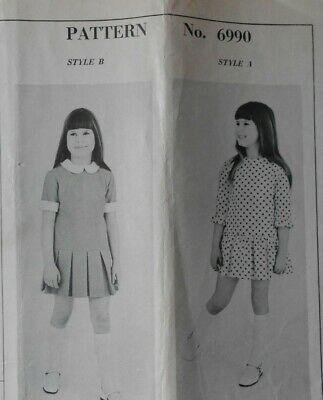 Vintage 1970s sewing pattern. MAIL ORDER 6990. DRESS. Age 8 yrs