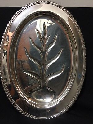 Vintage Wm. Rogers 4110 Silverplate Footed Tree of Life Oval Tray