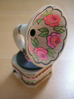 """Carved wooden miniature gramophone with floral horn  4.25"""" x 10cm high"""