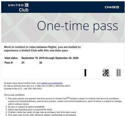 2 Passes for United Club One Time Pass EXP 9/25/2020