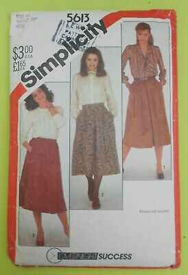 """Vintage 1980's sewing pattern. SIMPLICITY 5613. SKIRTS. Waist 28"""""""