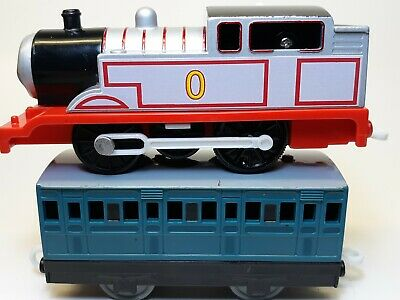 TIMOTHY THE GHOST ENGINE #0 + PASSENGER CAR Thomas Trackmaster Motorized CUSTOM