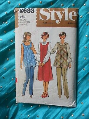 """MATERNITY sewing pattern. STYLE 2683. DRESS, SMOCK, TROUSERS. Bust 34""""."""