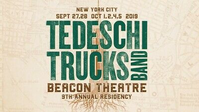 2 Tickets Tedeschi Trucks Band Saturday 10/5/19 The Beacon Theatre
