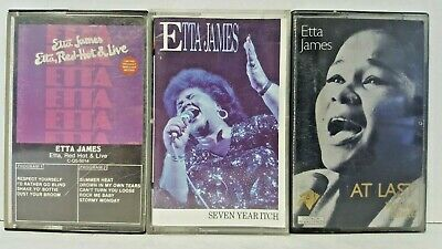Lot of 3 Etta James Cassette Tapes Jazz Blues At Last 7 Year Itch Red Hot Live