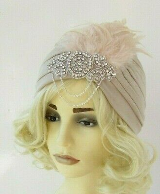 Beige Nude Silver Diamante Feather Turban Fascinator 1920s Flapper Gatsby 7558