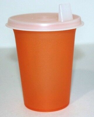 Tupperware Sippy Bell Tumbler 7 oz. Cup Flat Sipper Seal Translucent Orange 1552