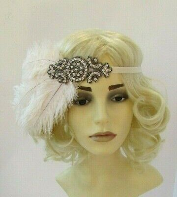 Champagne Cream Silver Pewter Grey Feather Headpiece 1920s Headband Flapper 7561