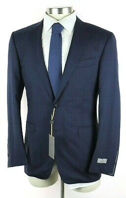 NWT $2195 CANALI 1934 Navy Blue Check Natural Comfort Wool Suit Slim-Fit 40 R