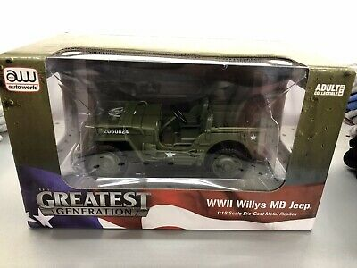 The Greatest Generation Ultimate soldier WWII Willys MB Jeep 1:18 Scale Die-Cast