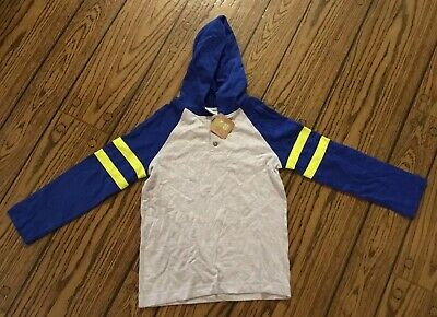 NWT Boys Crazy 8 Hooded Long Sleeve Blue Shirt Size Small 5/6 Blue Yellow Gray